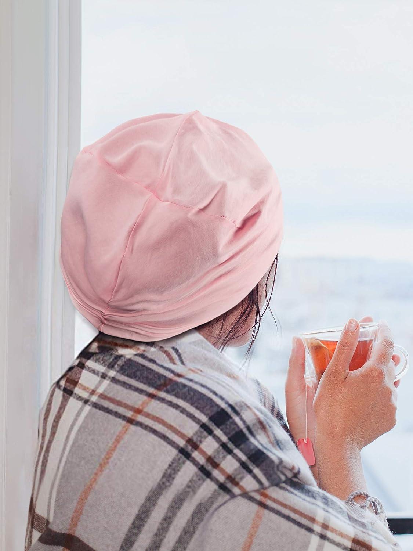 3 Pi/èces Bonnet de Nuit Doubl/é en Satin Bonnet Slouchy Bonnet Slap pour Femmes