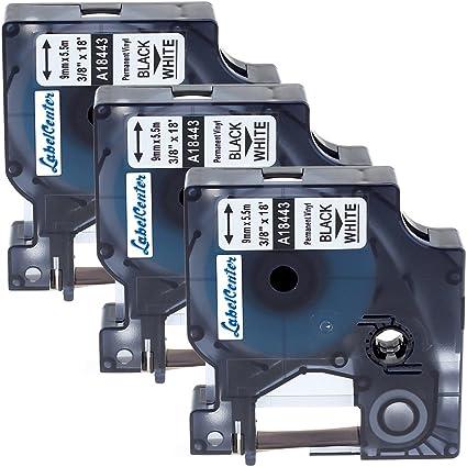 3 rotoli 9mm etichette industriali permanenti compatibile Dymo 18443 Rhino vinile nastro nero su bianco