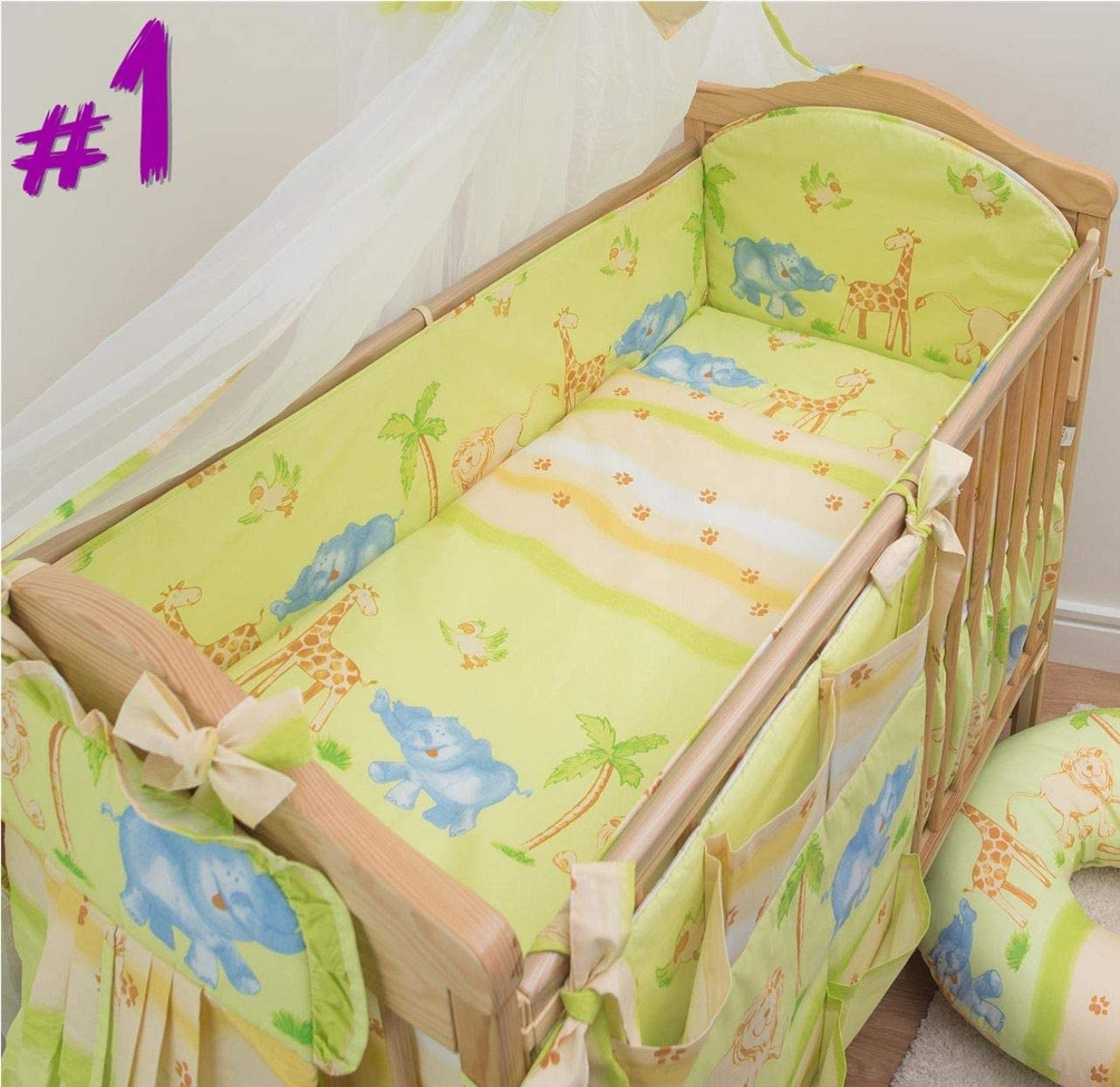 Cream 3 Piece Baby Bedding Set with All-Round 4-Sided Bumper to fit 120x60 cm Cot