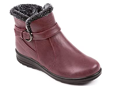 26674a7f0 Ladies Cushion Walk Faux Suede Warm Faux Fur Lined Casual Comfort Ankle  Boot Shoe Size 3