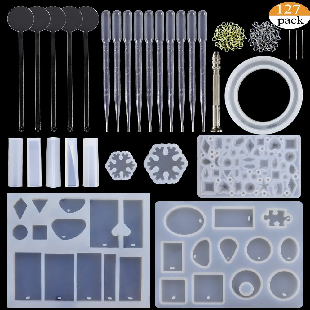 BAKHUK 127 Pieces Resin Casting Molds and Tools Set, Include 11 Pack Jewelry Casting Molds, 5 Stirrers, 10 Droppers, 1 Hand Twist Drill and 100 Screw Eye Pins.
