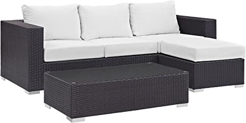 Modway Convene Wicker Rattan 3-Piece Outdoor Patio Furniture Sofa Set