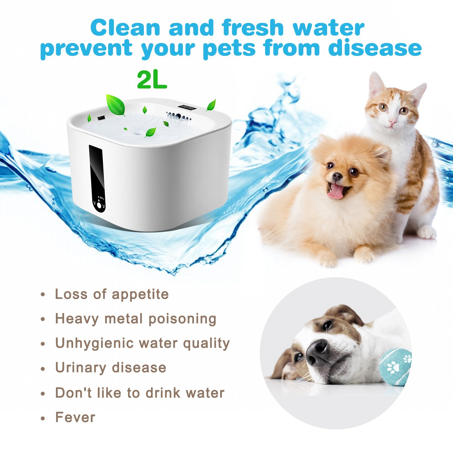 TAIOW Replacement Filter for Pet Water Fountain,Activated Carbon Filters for Smart Pet Cats//Dogs Drinking Fountain Health Water Dispenser Fresh and Clean(3 Pack)