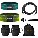 BERTER Resistance Bands Set, Booty Workout Exercise Hip Bands, Ankle Strap for Cable Machines, Leg and Butt Training, Glute Workouts, Abs, Home, Gym
