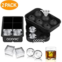 Ice Cube Trays, Adoric Sphere Ice Cube Molds Set of 2, Silicone Ice Ball Maker with Lid & Large Square Molds for Whiskey and Cocktails or Homemade, Black