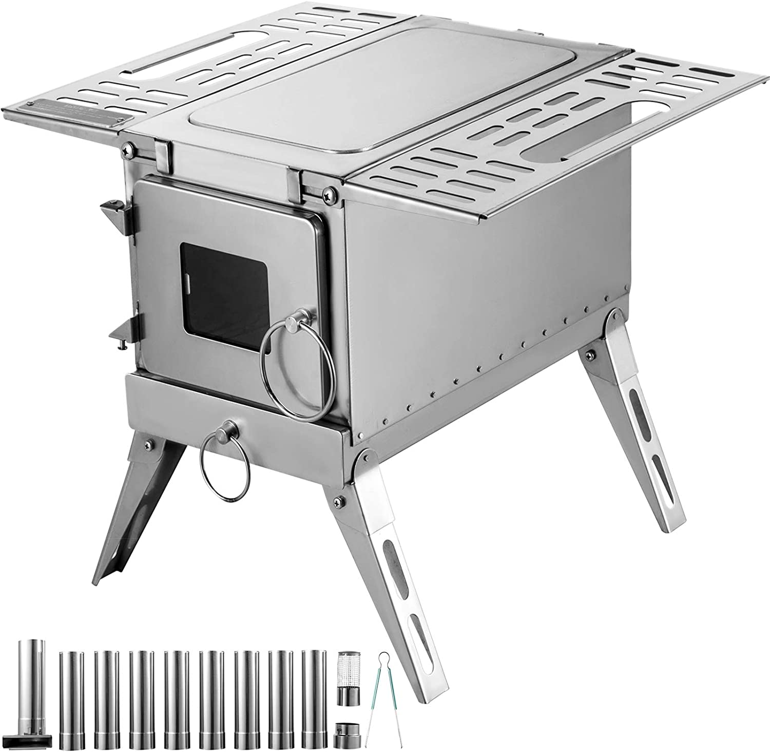 Happybuy Tent Wood Stove 18.3x15x14.17 inch, Camping Wood Stove 304 Stainless Steel with Folding Pipe, Portable Wood Stove 90.6 inch Total Height for Camping, Tent Heating, Hunting, Outdoor Cooking
