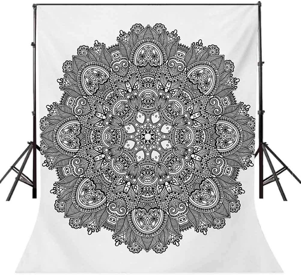 Girl on Warrior Pose with Lotus Flower Petal Lines and Shapes Boho Art Background for Kid Baby Boy Girl Artistic Portrait Photo Shoot Studio Props Video Drape Vinyl 10x15 FT Photography Backdrop