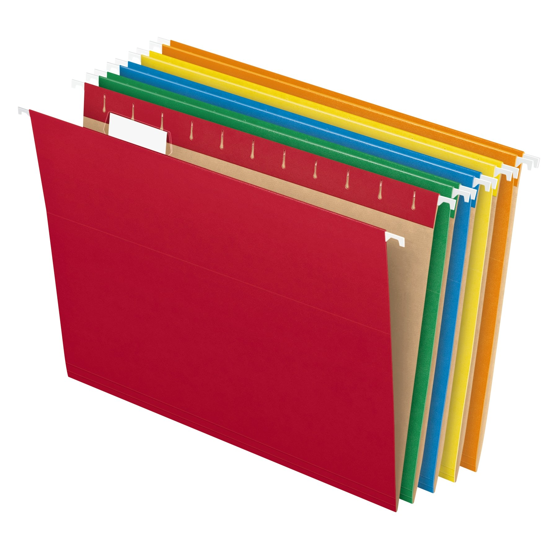 Pendaflex Recycled Hanging File Folders, Letter Size, Assorted Colors, Two-Tone for Foolproof Filing, 1/5-Cut Adjustable Tabs, 25 Per Box (81663)