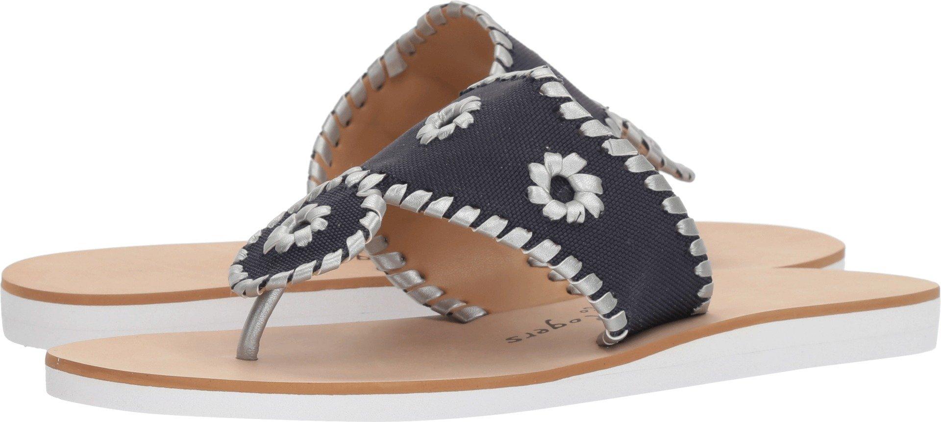 Jack Rogers Women's Captiva Flat Sandal, Midnight/Silver, 7 M US