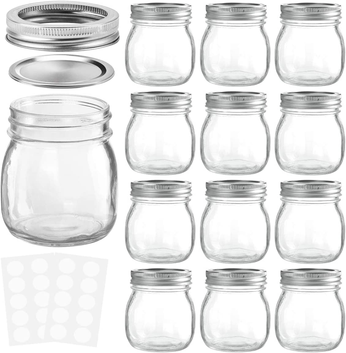 KAMOTA Mason Jars 10OZ With Regular Lids and Bands, Ideal for Jam, Honey, Wedding Favors, Shower Favors, Baby Foods, DIY Magnetic Spice Jars, 12 PACK, 20 Whiteboard Labels Included