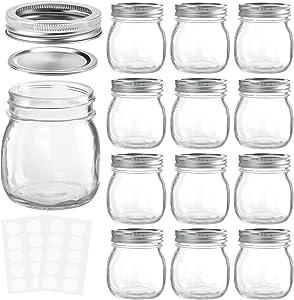 KAMOTA Mason Jars 10OZ With Regular Lids and Bands, Ideal for Jam, Honey, Wedding Favors, Shower Favors, Baby Foods, DIY Magnetic Spice Jars, 12 PACK, 20 Whiteboard Labels Included