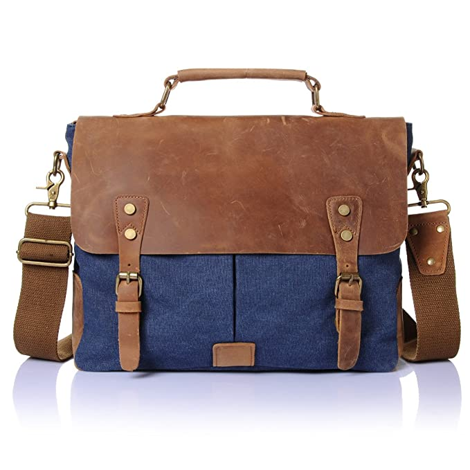 e09204466862 Stepack Vintage Canvas Genuine Leather Men's Briefcase Handbag Fit 14