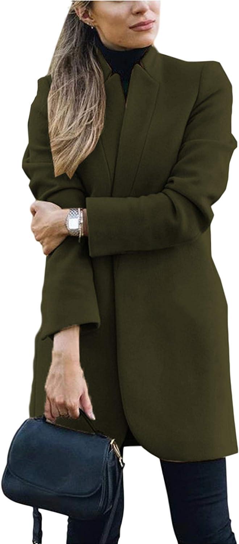 Womens Lapel Cashmere Wool Blend Trench Coat Outwear Jacket Oversize L-5XL