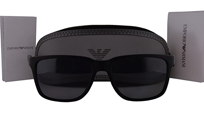 Image Unavailable. Image not available for. Colour  Emporio Armani EA4047  Sunglasses Black Rubber w Polarized Gray Lens 506381 ... bbb9a4329c