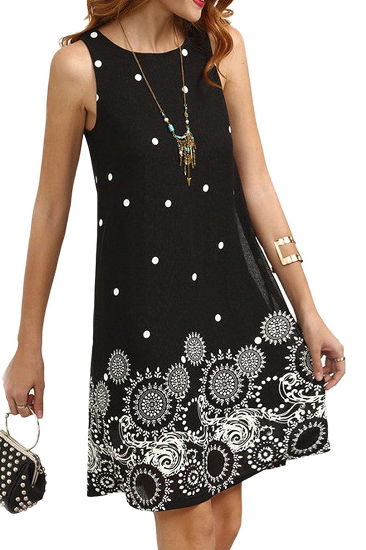 Women Summer Casual Polka Dot Strapless Sleeveless A-Line Sundress CACI120