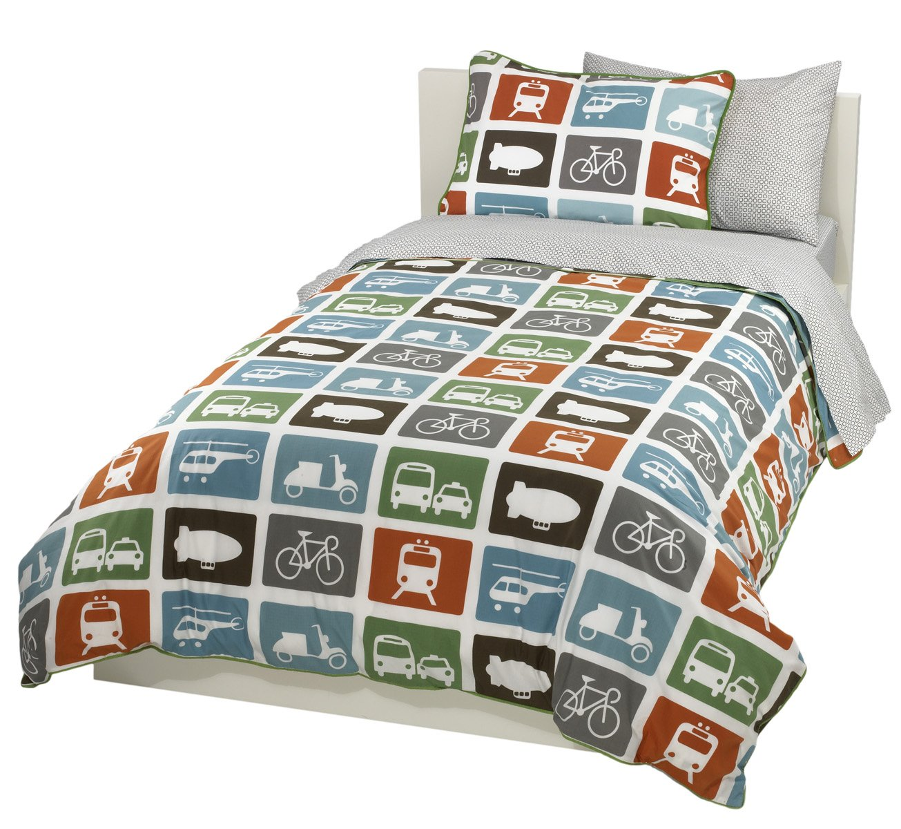 amazoncom dwellstudio transportation twin duvet set multi home  - amazoncom dwellstudio transportation twin duvet set multi home  kitchen