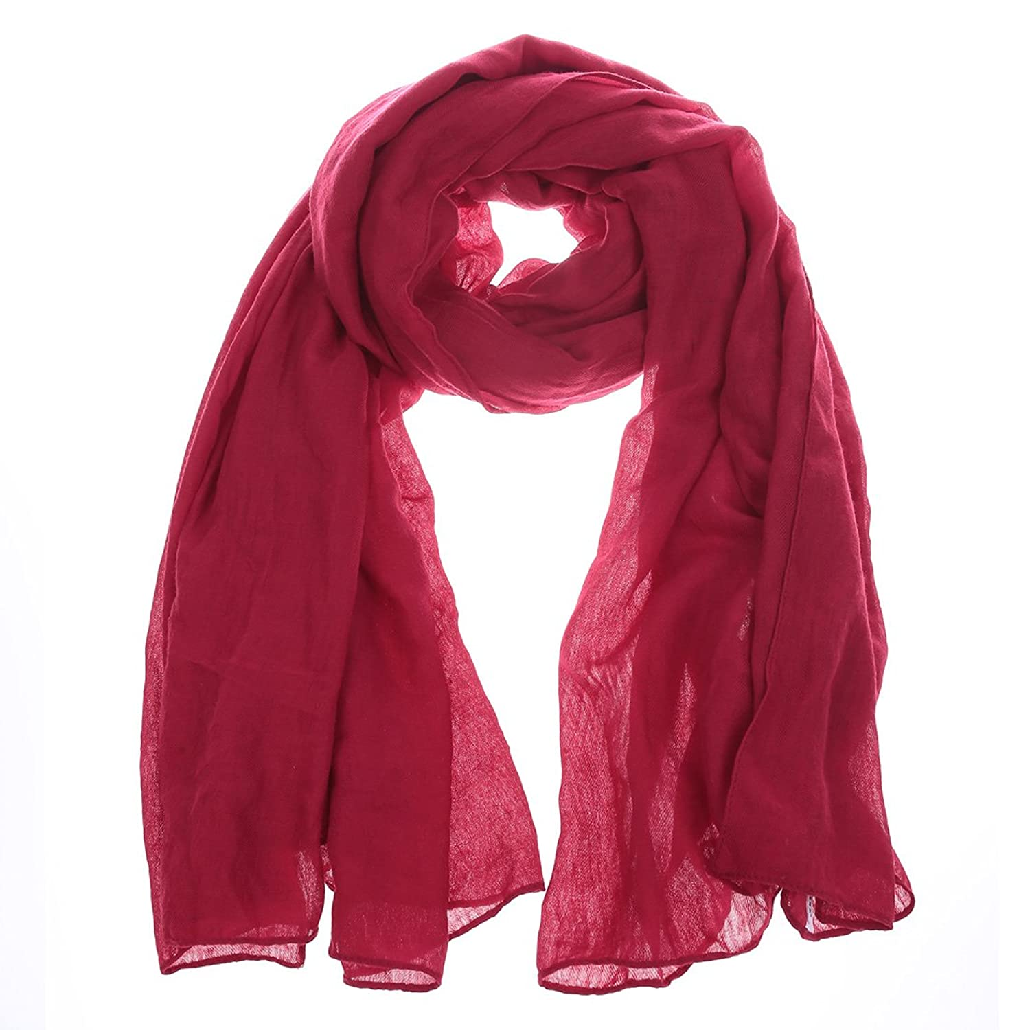 Generic Women's Solid Color Scarf Lady Soft Neckerchief Fashion Beach Scarves
