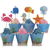 BeBeFun Adjustable Cupcake Wrappers and Toppers Under the Sea and Marin Animals Theme for Kids Birthday Party Supplies and Special Events Supplies 24pcs Wrappers and 24pcs Toppers in Pack.