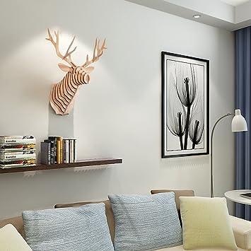 HROOME DIY 3D Wooden Wall Art Wildlife Animal Faux Elk Deer Head Antlers  Decor Wall Sculptures Part 65