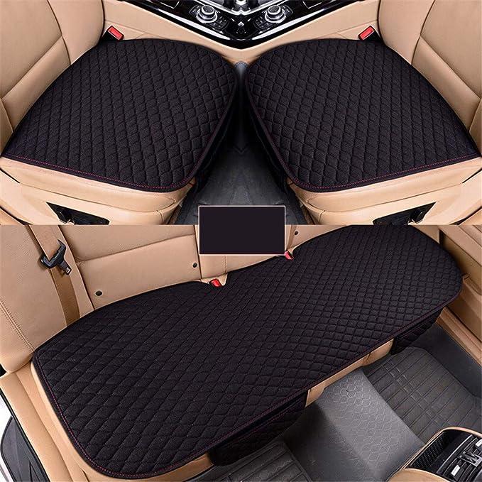 GLITZFAS Auto rutschfest Sitzauflagen Sitzkissen Leinen Universal Auto Vordersitz und R/ücksitz Kissen Bequem und atmungsaktiv Braun,2+1 Sitzbez/üge vorne und hinten