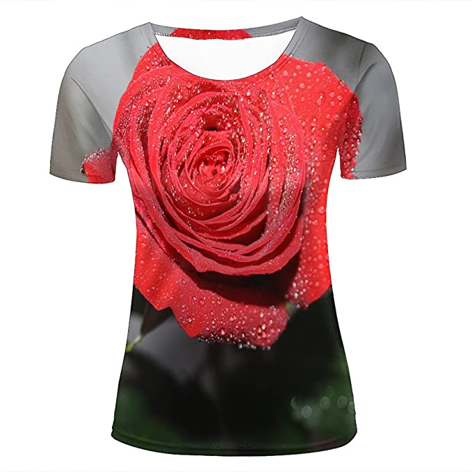 c2ef8ac7b78d Womens 3D Printed T-Shirts Close-up Of Wet Red Rose Graphic Couple Tees