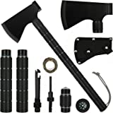 iunio Survival Axe, Camping Hatchet with Sheath, Multitool, Camp Ax Gear, Folding Portable Tools, for Hiking, Backpacking, Em
