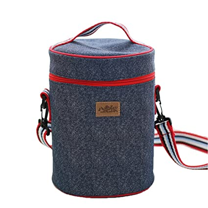 91cc5ed93382 Amazon.com: Baling Denim Blue Washable Cooler Bag Cylinder Insulated ...