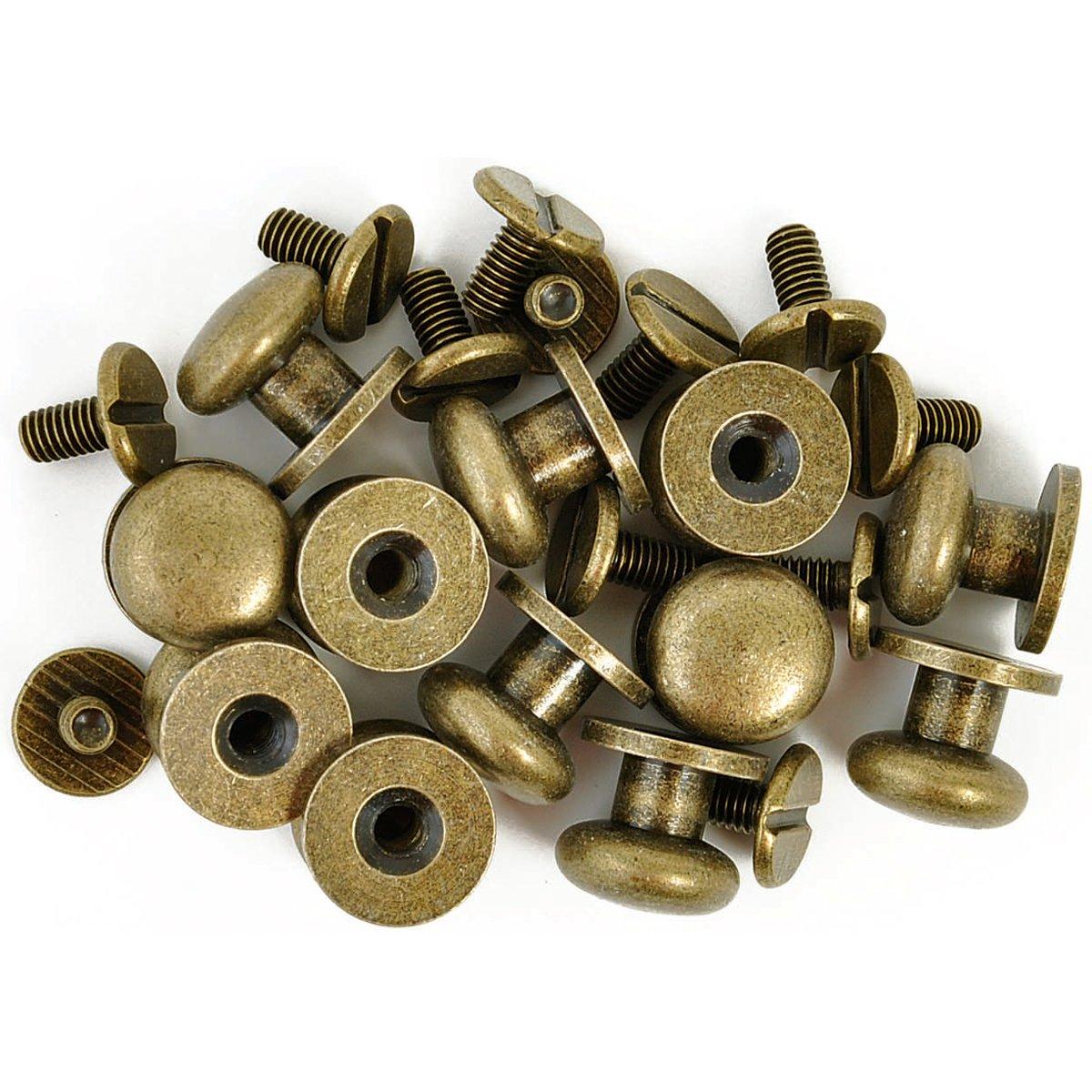 "Kaisercraft TM812 Treasures Metal Drawer Knob, 0.375-Inch (3/8""), Antique Brass, 12-Pack"