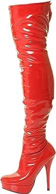 Nueva Sexy Rizado Fetiche Señoras Negro Blanco Rosa Rojo Muslo Encima de la Rodilla Altas Botas de Plataforma de Tacón