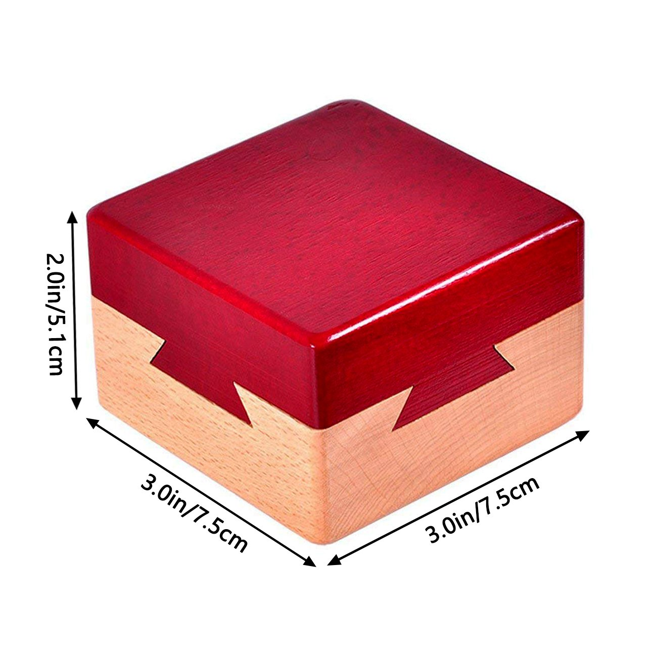 Impossible Dovetail Box Mini 3D Brain Teaser Wooden Magic Drawers Gift Jewelery Box Puzzle Toy.