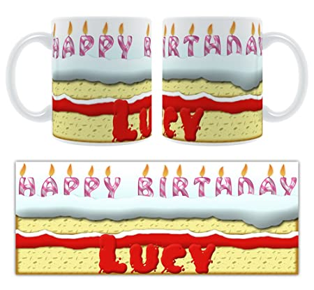 Happy Birthday Lucy Birthday Cake Personalised Ceramic Mug Amazon