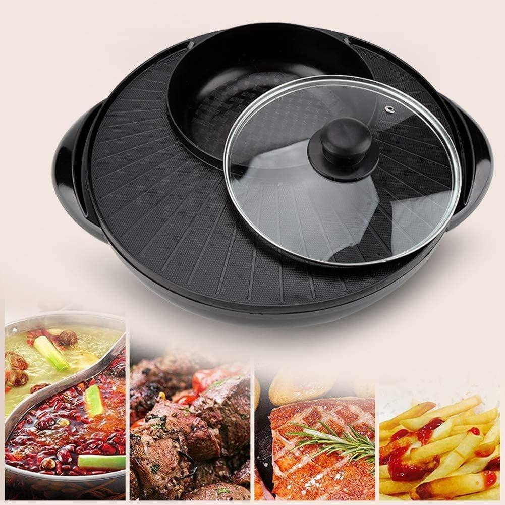 Multifunktionaler Antihaft-Pan Koreanischer Grill Hot Pot Indoor Teppanyaki GrillShabu Shabu Pot f/ür 4-5 Personen Elektrischer Grill Indoor Hot Pot