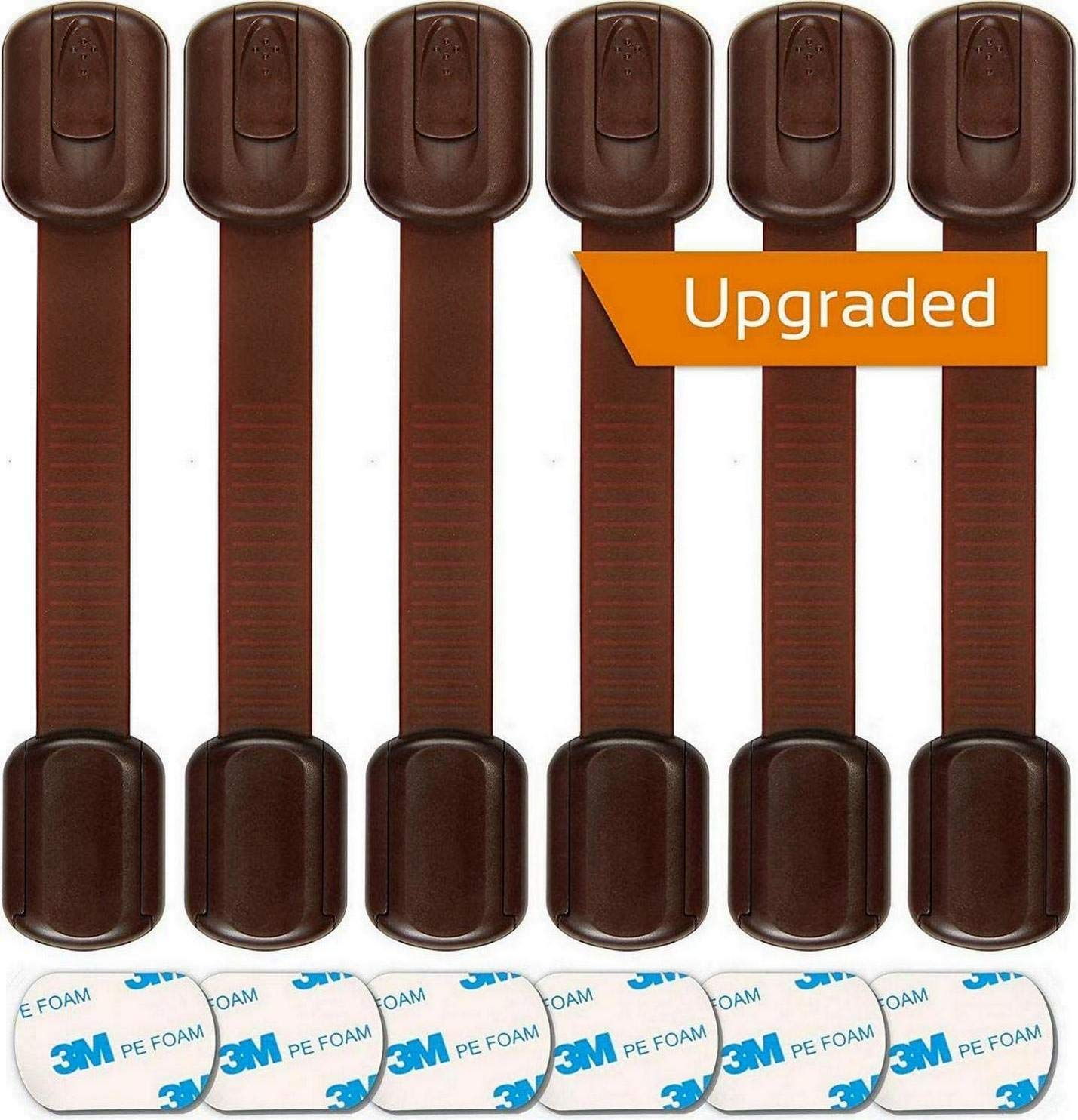 Baby Proofing Safety Cabinet Locks - Child Proof Latches for Drawer Cupboard Dresser Doors Closet Oven Refrigerator - Adjustable Childproof Straps by Oxlay - Brown - 6 Pack