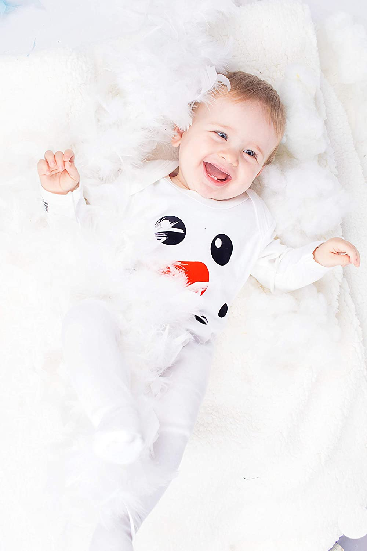 Lindo muñeco de nieve Baby para niño/de Navidad ropa de bebé/bebé de primera Navidad por diseño de vestido de Moo blanco blanco Talla:0-3 Meses