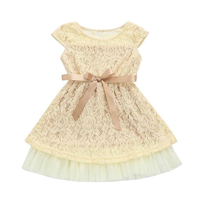 YpingLonk_Vestidos para Niña Vestido De Princesa, Fiesta Cuello Redondo sin Manga Vestido de Encaje de Flores con Cordones Color Sólido Hueco Cumpleaños ...