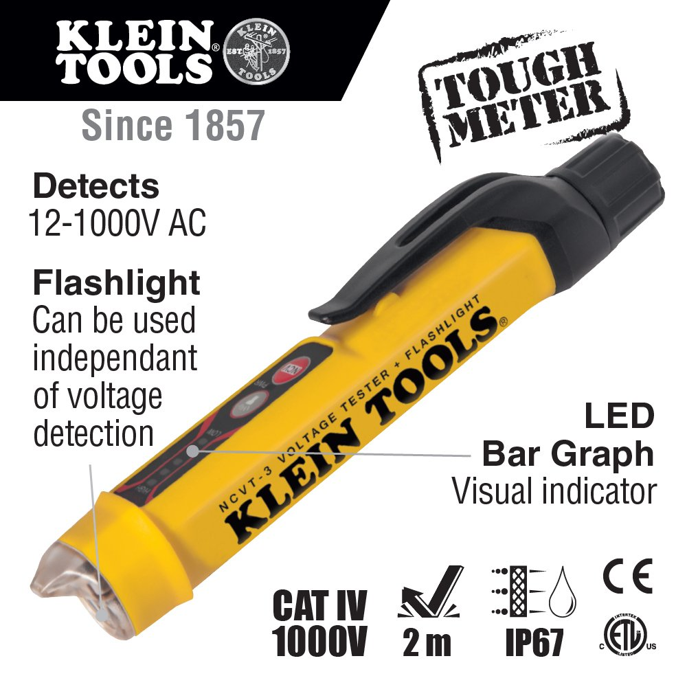 Non-Contact Voltage Tester with Flashlight Klein Tools NCVT-3 by Klein Tools (Image #2)