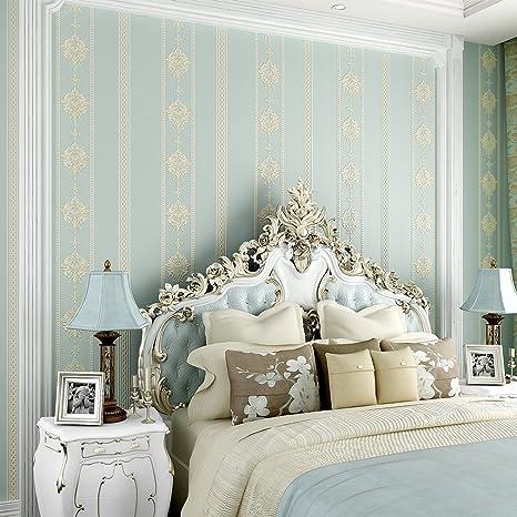 KINLO® Tapete Wand Blau 10Mx53cm Top Tapete Muster Tapete Barock  Vliestapete Tapete Muster Tapete Streifen Wanddeko für Wohnzimmer,  Schlafzimmer, ...