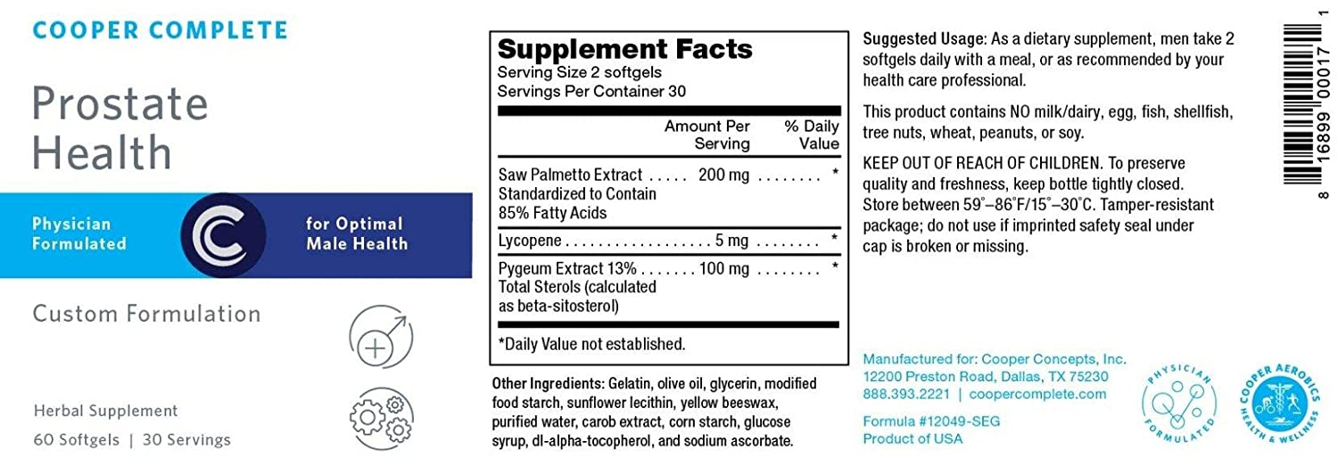 Cooper Complete – Prostate Health Supplement – Saw Palmetto, Lycopene, Pygeum – 60 Day Supply
