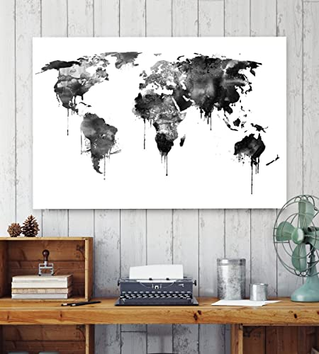 Black and white watercolor world map poster watercolor map print black and white watercolor world map poster watercolor map print world map print gumiabroncs Gallery