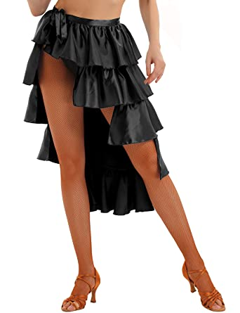 TiaoBug Mujer Falda de Danza Latina Estilo Alta-Baja Desigual ...