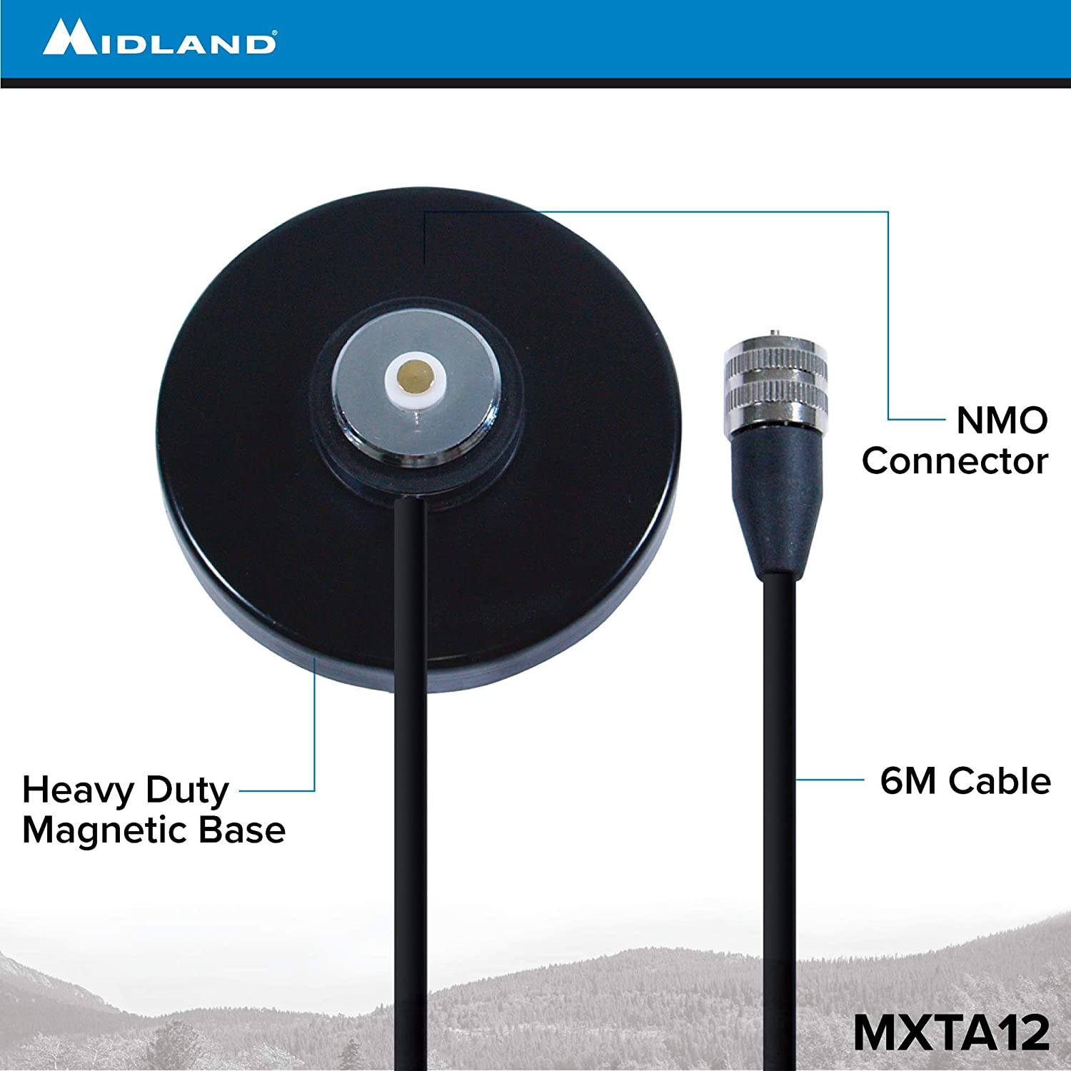 MXTA12 Antenna Mag Mount with NMO Connector and 12 Cable MXT115 MXT275 Works with Midland MicroMobile MXT105 MXT400 Midland