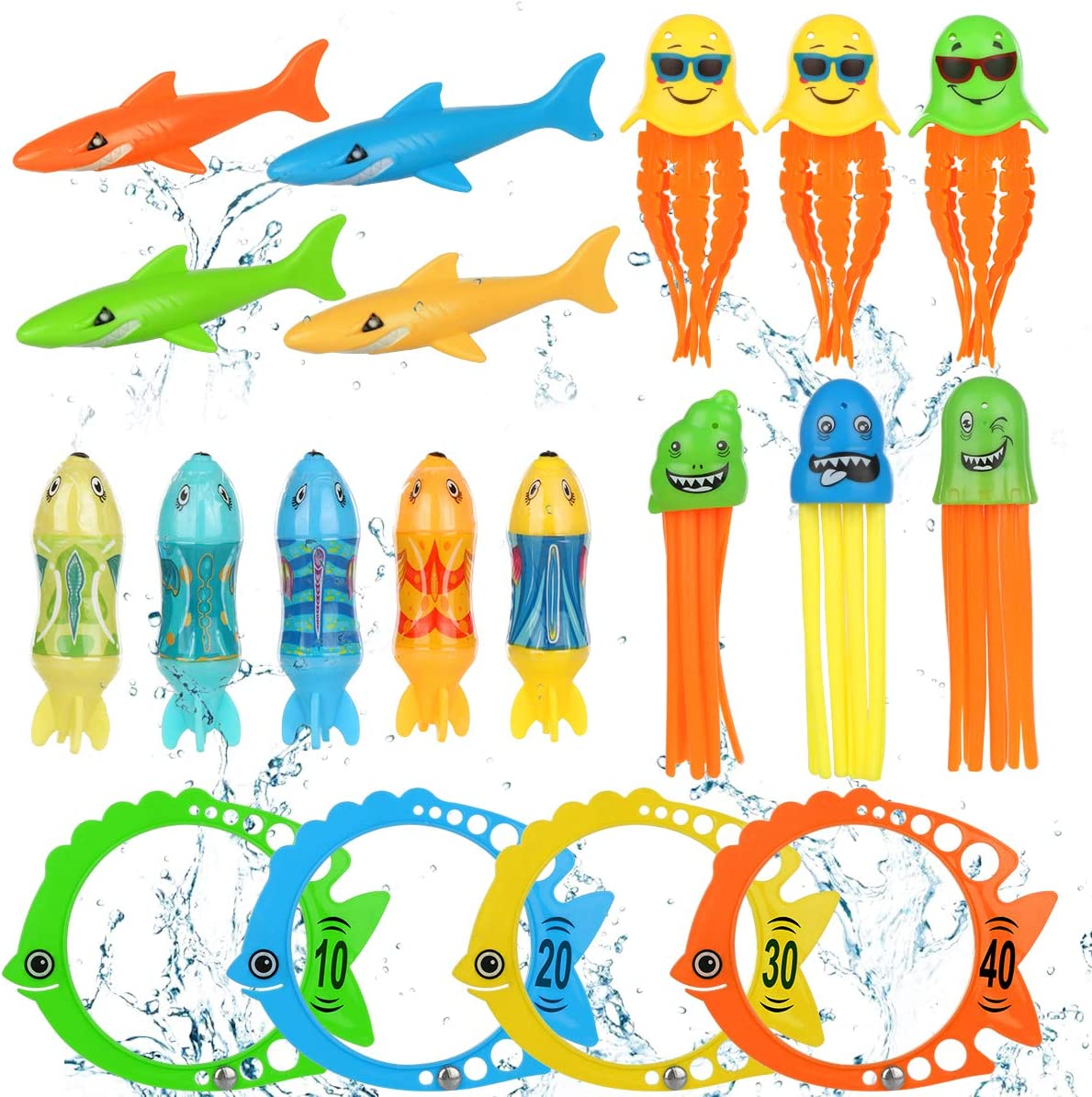 Pool Toys for Kids Diving Torpedo Toy Water Shark Fish Ring Stringy Octopus Water Game Diving & Swimming Training Underwater Summer Toys Gift for toddlers boys and girls age 3-10 8-10 3-5 Year Olds