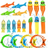 Pool Toys for Kids Diving Torpedo Toy Water Shark Fish Ring Stringy Octopus Water Game Diving & Swimming Training…
