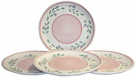 Caleca Pink Garland 4-Piece Dinner Plate Set Service for 4  sc 1 st  Amazon.com & Amazon.com | Caleca Pink Garland 4-Piece Dinner Plate Set Service ...