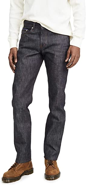 Naked /& Famous Denim Mens Weird Guy Low-Rise Jean in Dirty Fade Selvedge