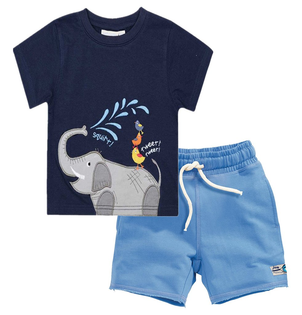 Fiream Baby Boy's Cotton Cute Short Sleeve Clothing Set(Set2,3T)