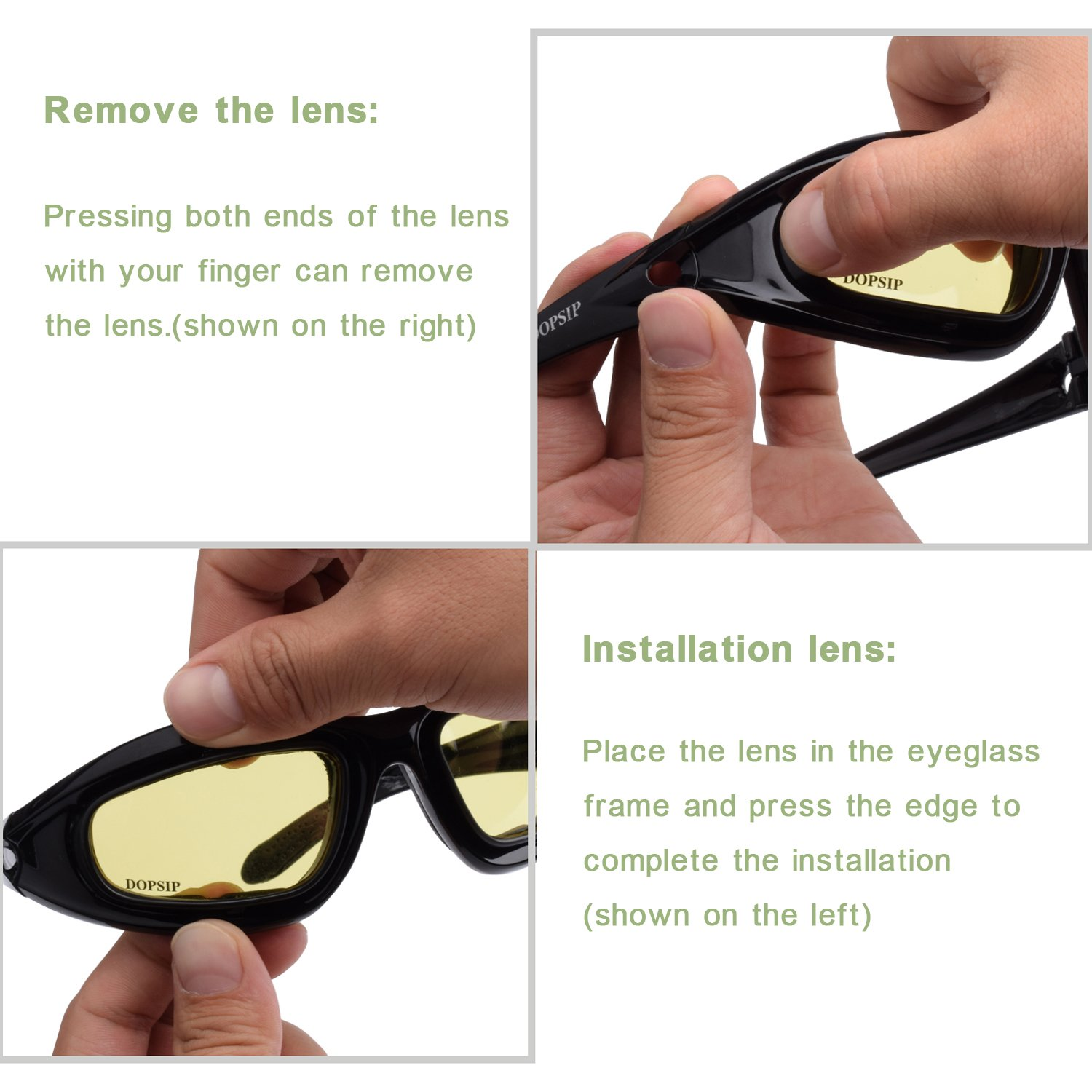 Tactical Glasses,DOPSIP Cycling Glases Protective Military Goggle with 4 Replaceable Lenses (Black) by DOPSIP (Image #5)