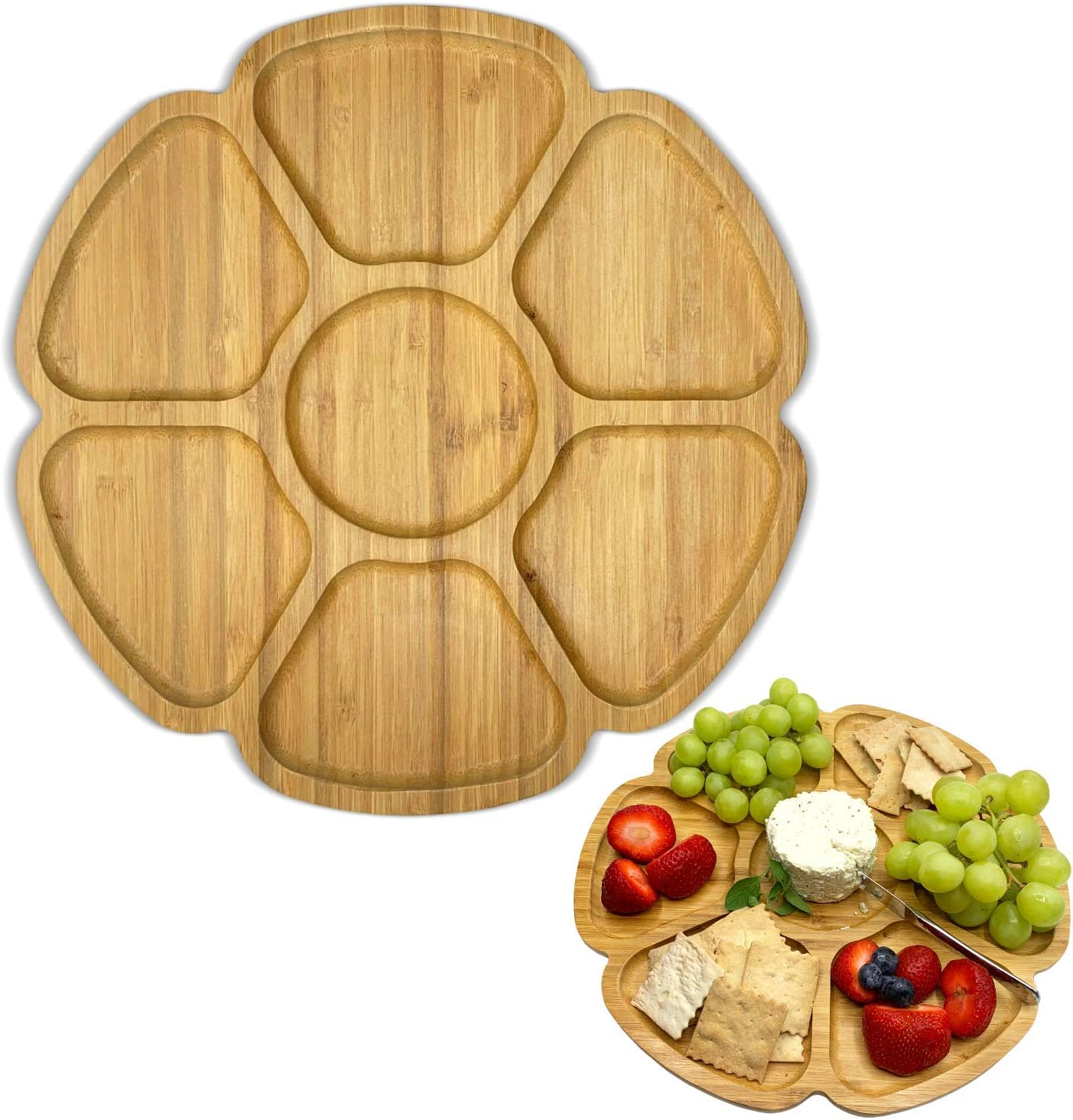 12.6 Inches Premium Bamboo Kitchen Serving Tray – 100% Handmade Crafted Platter – for Parties, Dinners, Holidays – New Sleek Design – Eco-Friendly All-Natural Vegan Wooden Platter - Food Tray