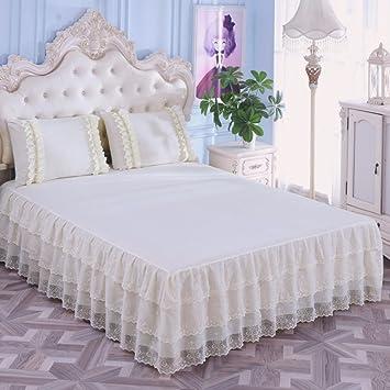 Wunderbar Hxxkact Spitze Bettvolant Tagesdecke,Queen King Bettüberwurf Dekoration  Schlafzimmer Chiffon Beige 150x200cm(