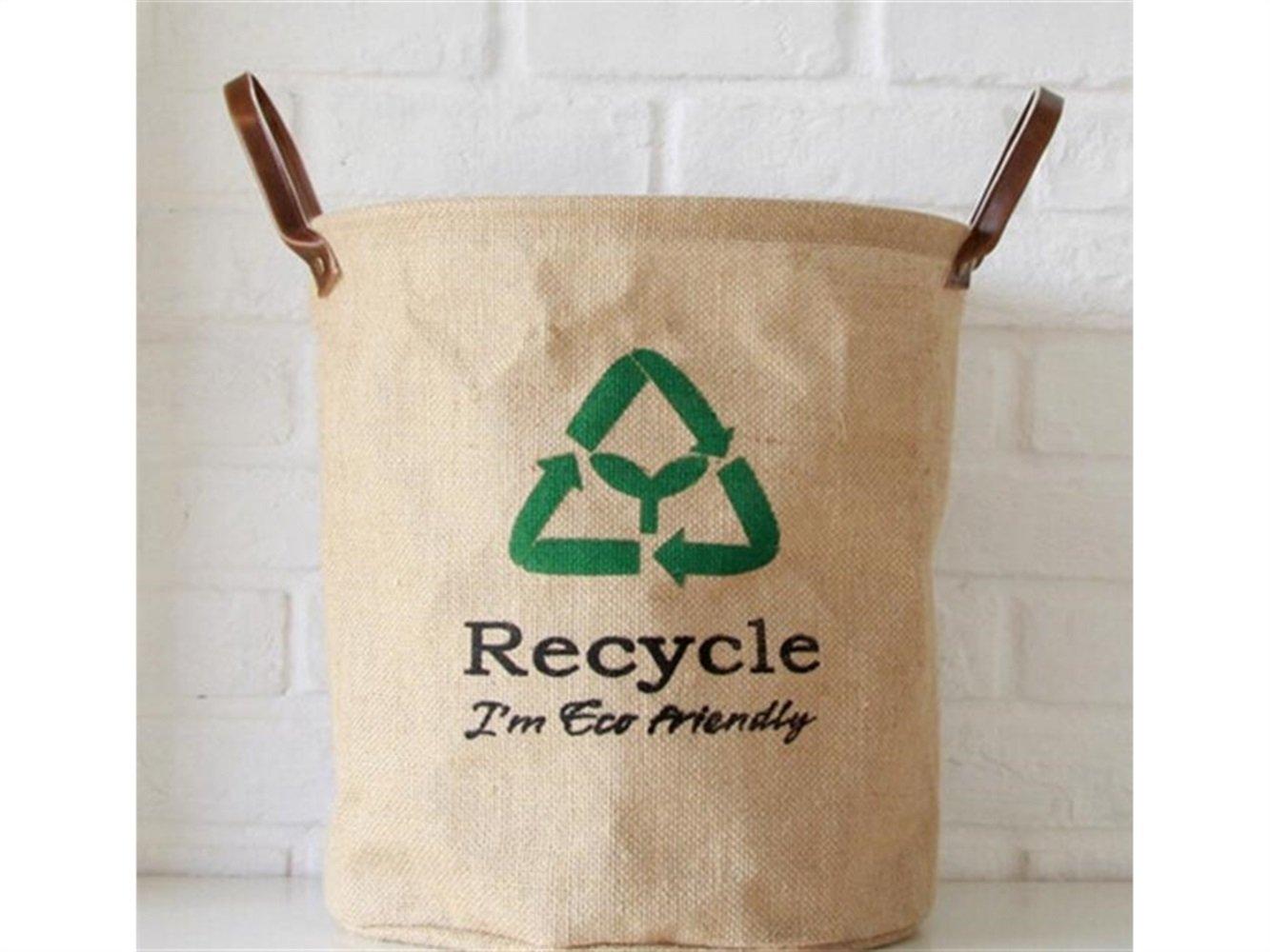 Gelaiken Lightweight Recycle Pattern Storage Bucket Jute Storage Bag Sundries Storage Bucket(Jute Colour)